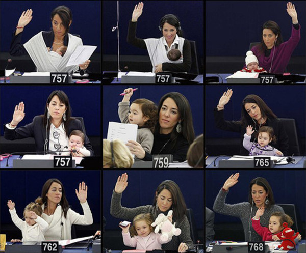Vittoria, the daughter of Italian MEP Licia Ronzulli, at sessions of the European parliament